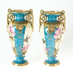 Ein Paar handbemalte Vasen von Franz Anton Mehlem